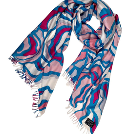 Cashmere Wrappings 100% Silk Scarf -Woodland-Pink Sea