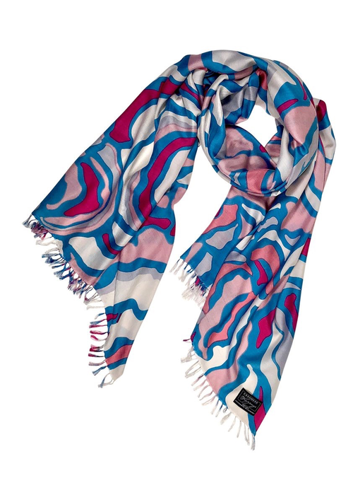 Cashmere Wrappings Cashmere Wrappings 100% Silk Scarf -Woodland-Pink Sea