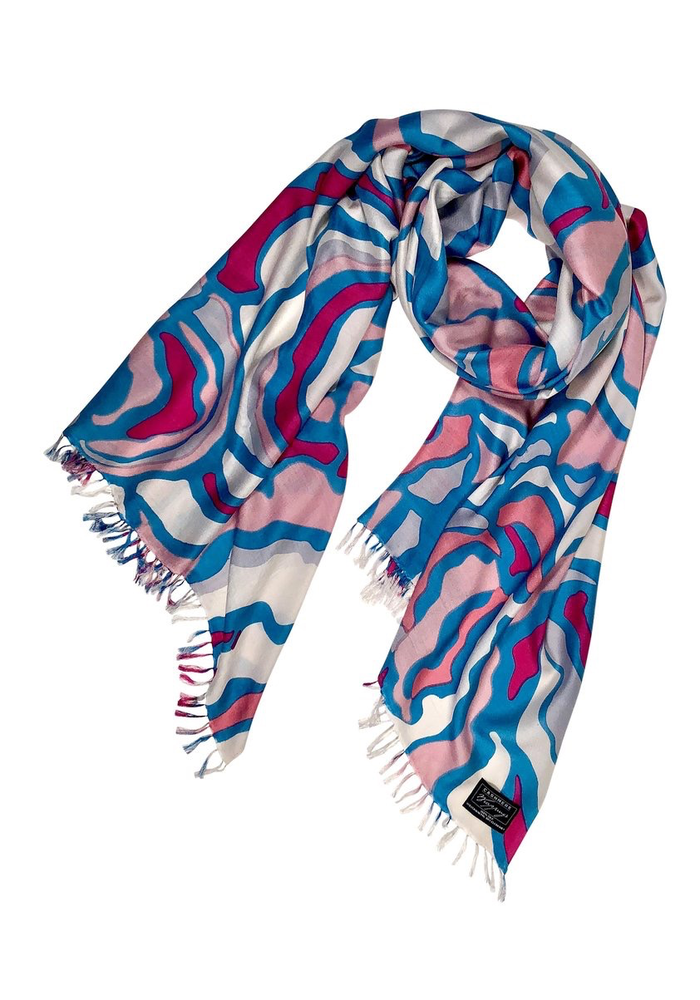 100% Silk Scarf -Woodland-Pink Sea