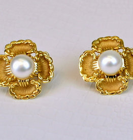 Mazza Gold Flower ear w/PEARL 14K clip