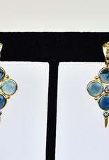 Mazza Earrings, Blue Tourmaline 6.8ct with .16ct Diamond 14K Gold