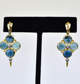 Mazza Earrings, Blue Tourmaline 6.8ct with .16ct Diamond 14K Gold