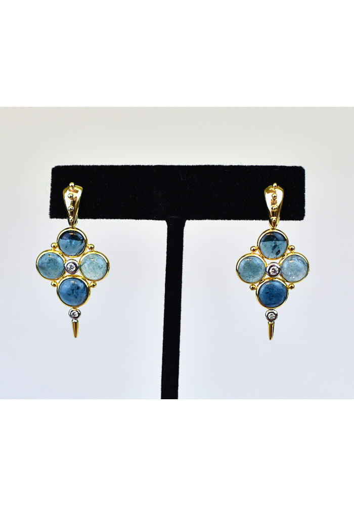 Earrings, Blue Tourmaline 6.8ct with .16ct Diamond 14K Gold