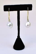 Mazza Baroque Pearl & Diamond .20ct, 14K Long Wire Earring