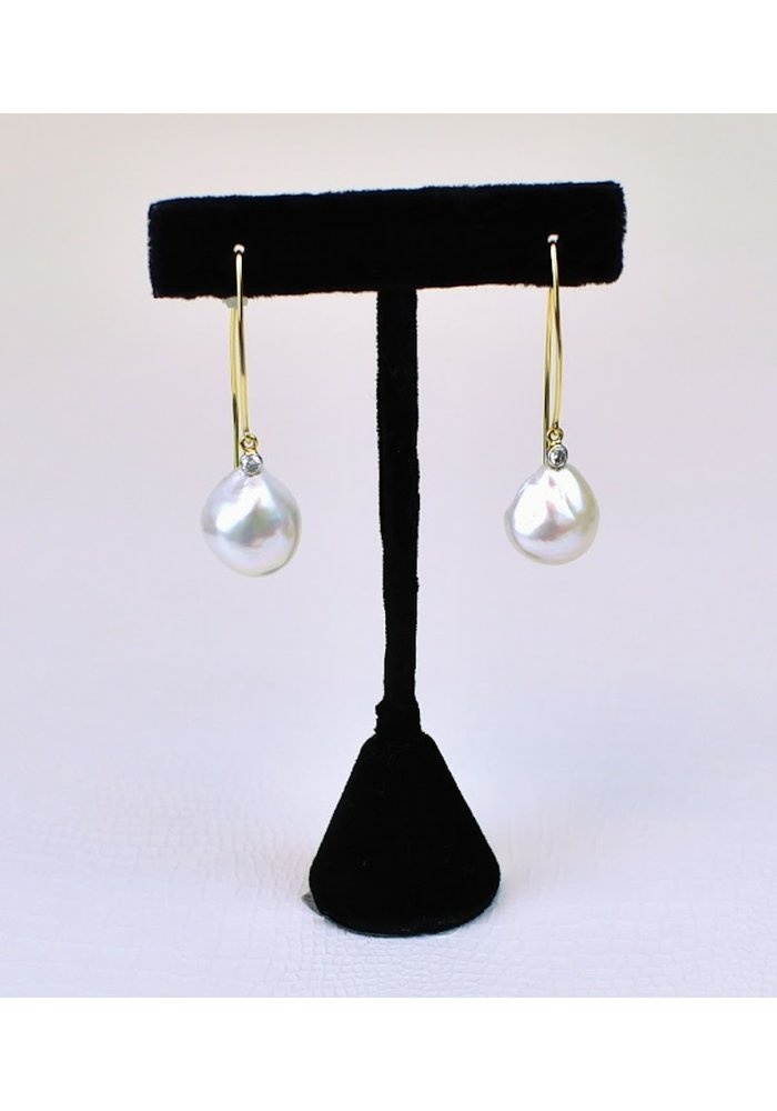 Baroque Pearl & Diamond .20ct, 14K Long Wire Earring