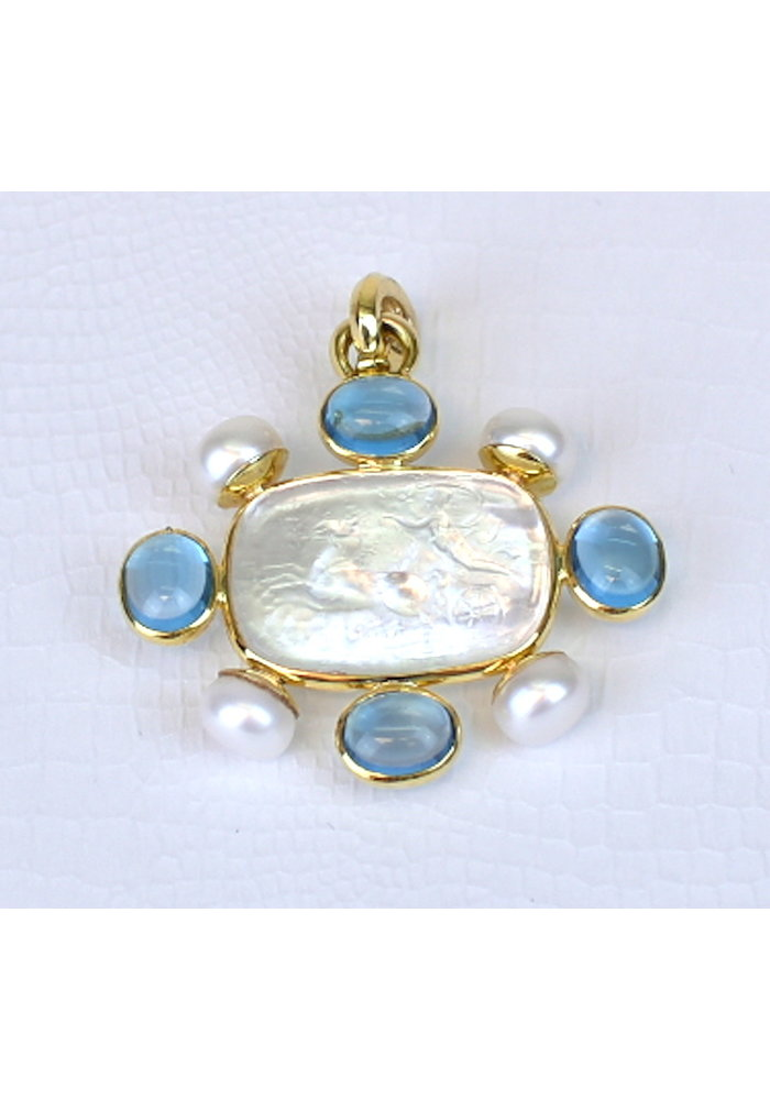 "Pendant Clear Venetion Glass ""Murano"", Blue Topaz and FWP 14K"