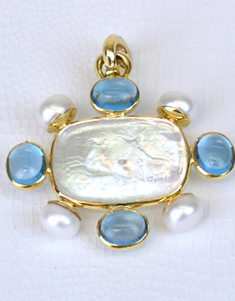 "Mazza Pendant Clear Venetion Glass ""Murano"", Blue Topaz and FWP 14K"