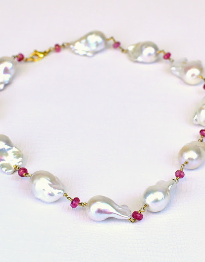 "Mazza Baroque FW Pearl Pink Tourmaline 14K Necklace 17"""