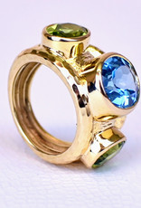 Mazza Wide Hammered 14K Ring with Blue Topaz and Peridot