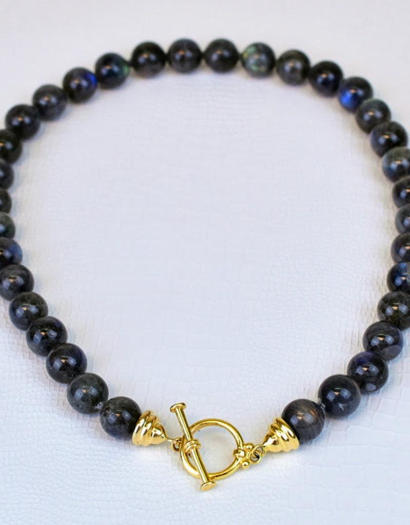 Mazza  Round Labradorite Bead Necklace with Mystery