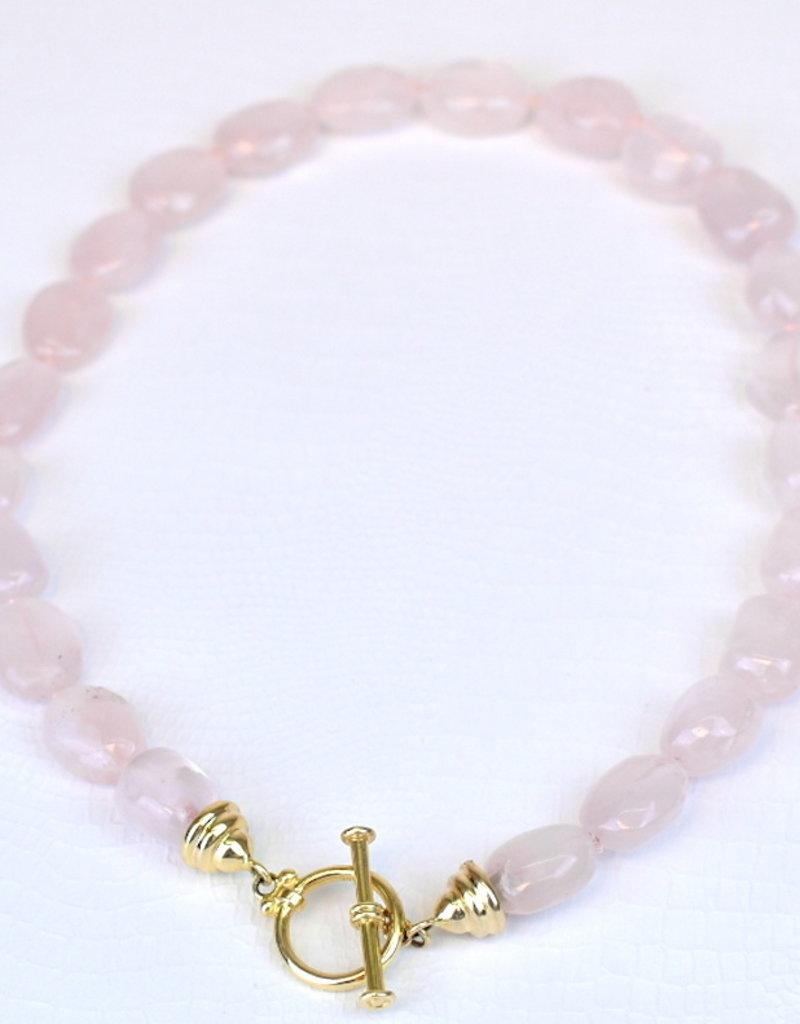 Mazza Beaded Necklace in Rose Quartz