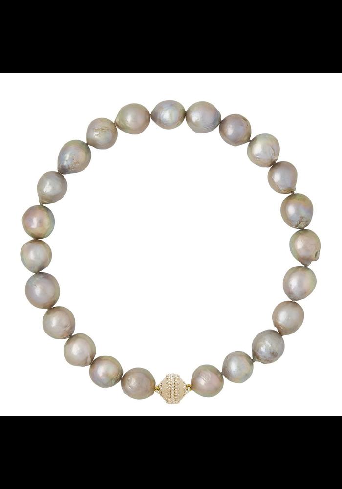 Clara Williams Freshwater Gray Baroque Pearl Necklace