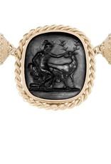 CWC Jewelry 14K Braided Italian Glass Black Diana Centerpiece w/ Reversible MOP