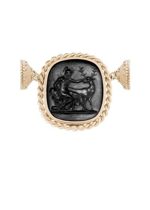 Clara Williams Clara Williams 14K Braided Italian Glass Black Diana Centerpiece w/ Reversible MOP