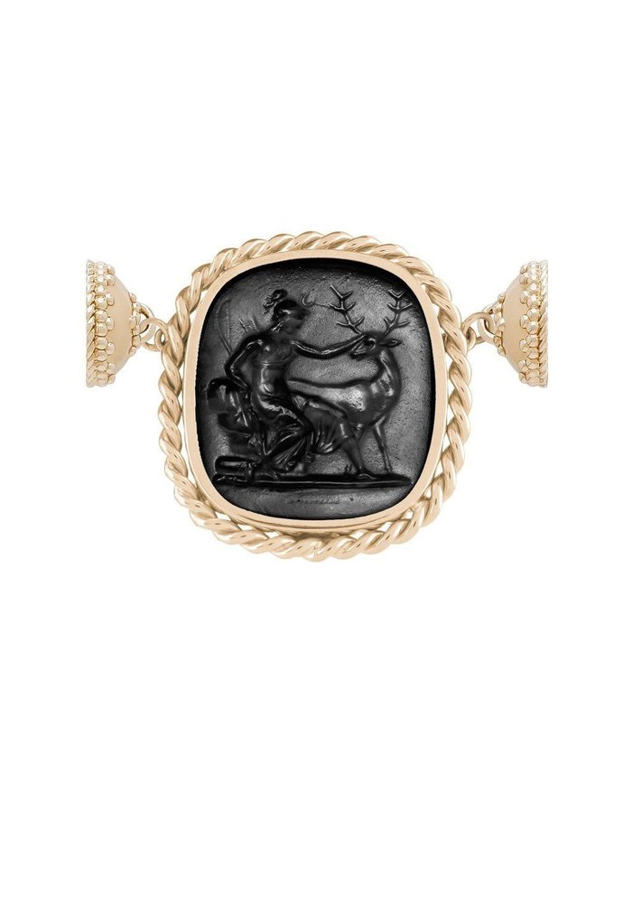 Clara Williams 14K Braided Italian Glass Black Diana Centerpiece w/ Reversible MOP