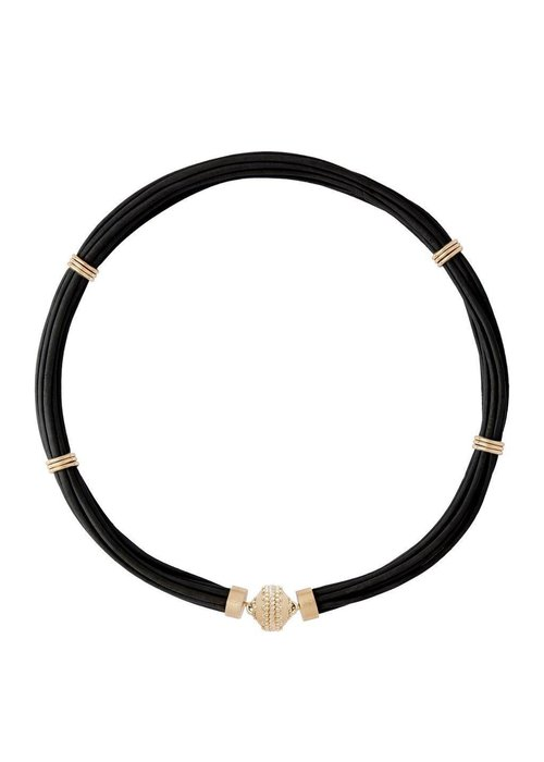 CWC Jewelry Aspen Leather Necklace - Jet Black