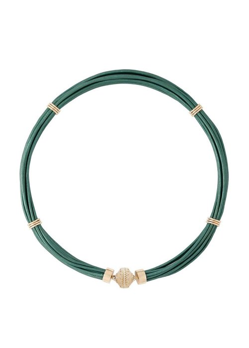 CWC Jewelry Aspen Leather Necklace - Mallard Green