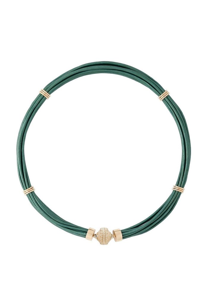 Aspen Leather Necklace - Mallard Green