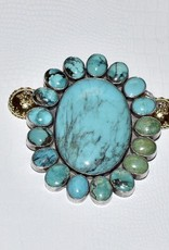 CWC Jewelry Sante Fe Stone Turquoise Oval and Sterling Silver Centerpiece