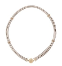 CWC Jewelry ASPEN LEATHER WHITE PEARL NECKLACE