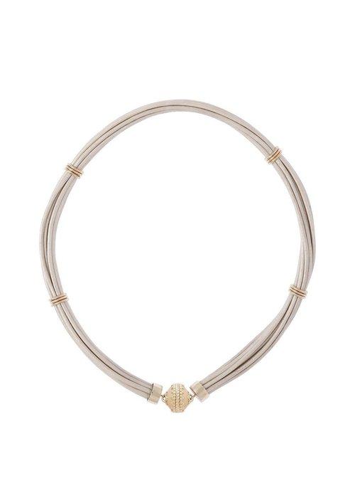 Clara Williams Aspen Leather White Necklace