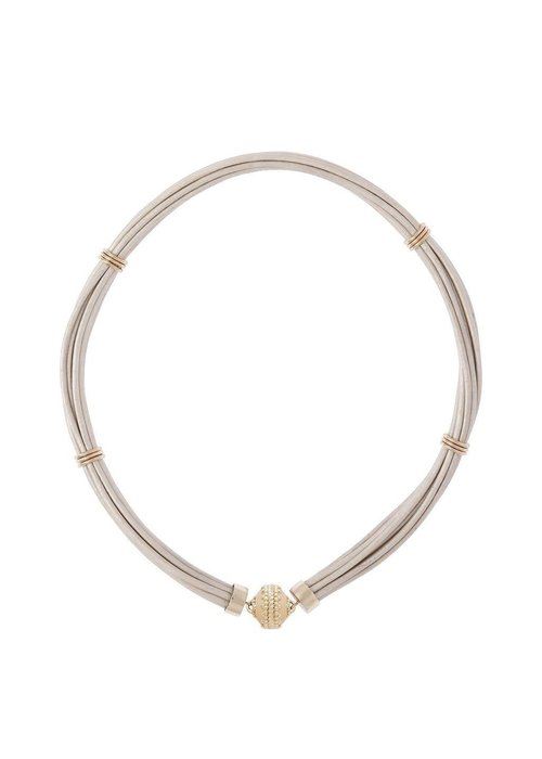 CWC Jewelry Aspen Leather White Necklace