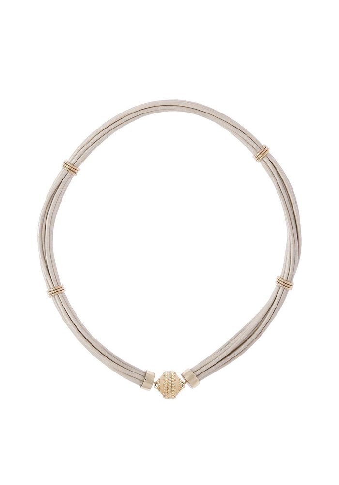 Aspen Leather White Necklace