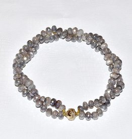 CWC Jewelry Coated Gray Moonstone Faceted Rhondlle Necklace
