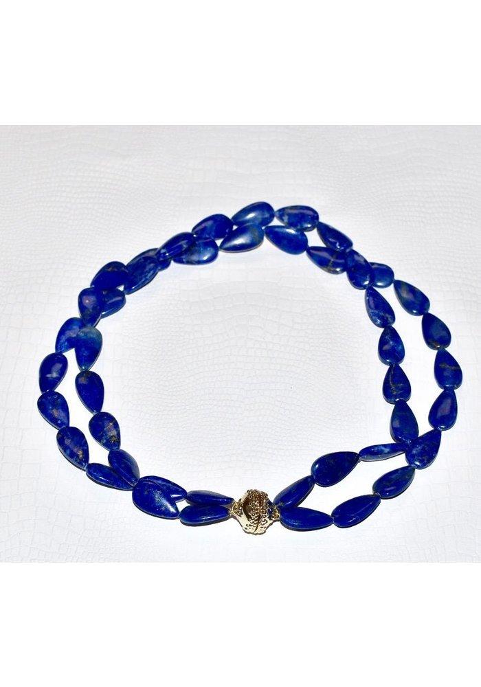 Lapis Flat Teardrop Necklace, 2 strand