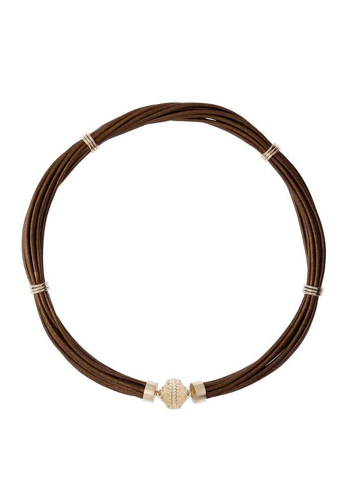 Clara Williams Aspen Leather Necklace - Antique Bronze