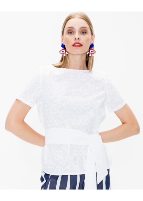 Vilagallo Vilagallo Embroidered S/S Shirt with Sash