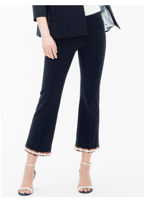 Vilagallo Vilagallo Full Leg Crop Ponte Knit Pants Pearl Accents