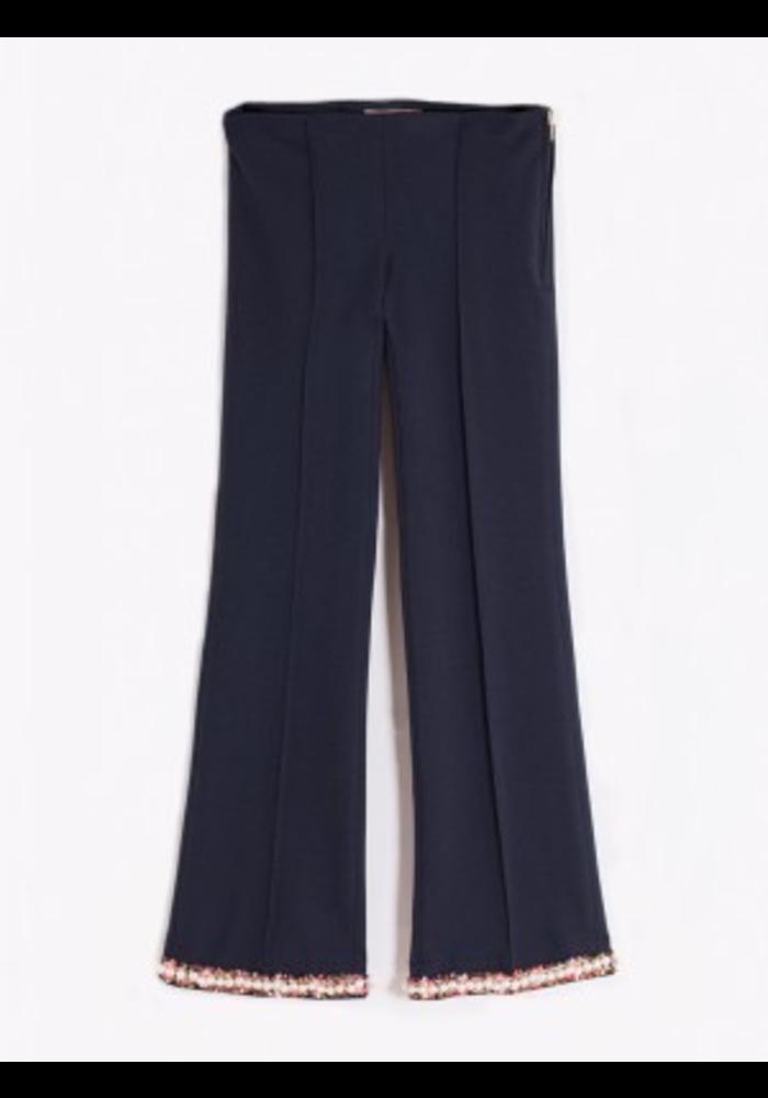 Vilagallo Full Leg Crop Ponte Knit Pants Pearl Accents