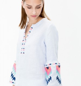 Vilagallo Embroidered Aztec Bell Sleeve Shirt