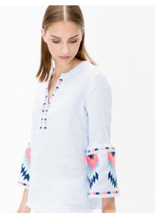 Vilagallo Vilagallo Embroidered Aztec Bell Sleeve Shirt