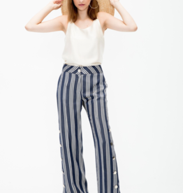 Vilagallo Natalia Wide-Leg Trousers with Side Buttons