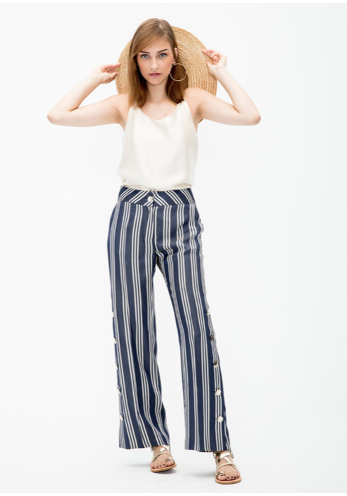 Natalia Wide-Leg Trousers with Side Buttons