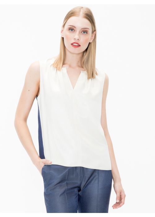 Vilagallo Sleeveless Top Contrasting Color Front and Back