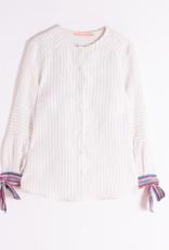 Vilagallo Button up Blouse in Vertical, Neutral Stripes