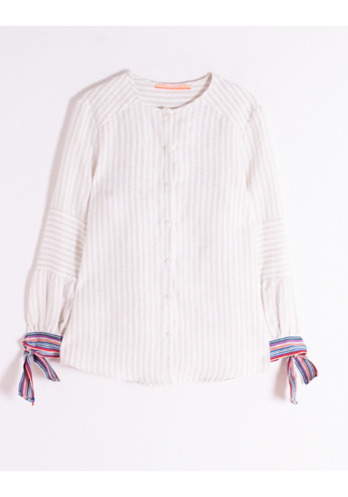 Button up Blouse in Vertical, Neutral Stripes