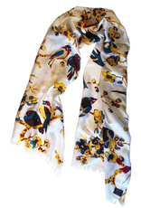 """Cashmere Wrappings 100% Silk Scarf- """"Birds in Branches""""-Nectarine"""