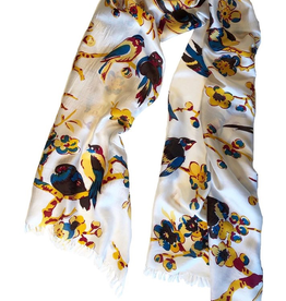 "Cashmere Wrappings 100% Silk Scarf- ""Birds in Branches""-Nectarine"