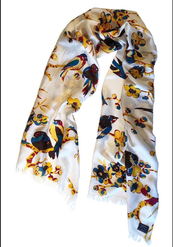 Silk Scarf Birds in Branches Nectarine