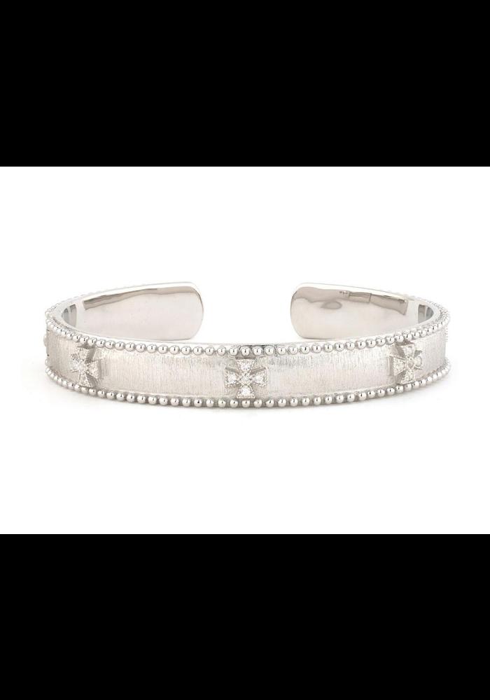Silver Narow Beaded Maltese Cuff