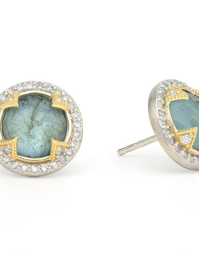 Jude Frances Mixed Metal Silver Round Labradorite Stone Sterling Silver Pave Diamonds 18K Accents