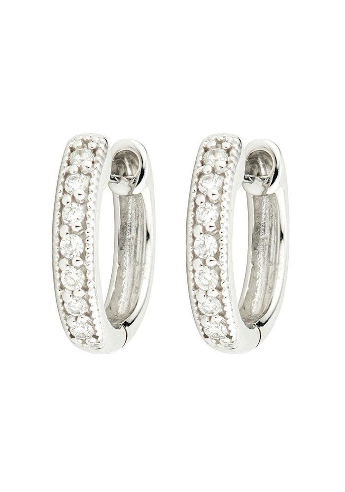 "Jude Frances 18K Wht Gold .5"" Hoop Earrings W/ 0.11ct Diamonds"