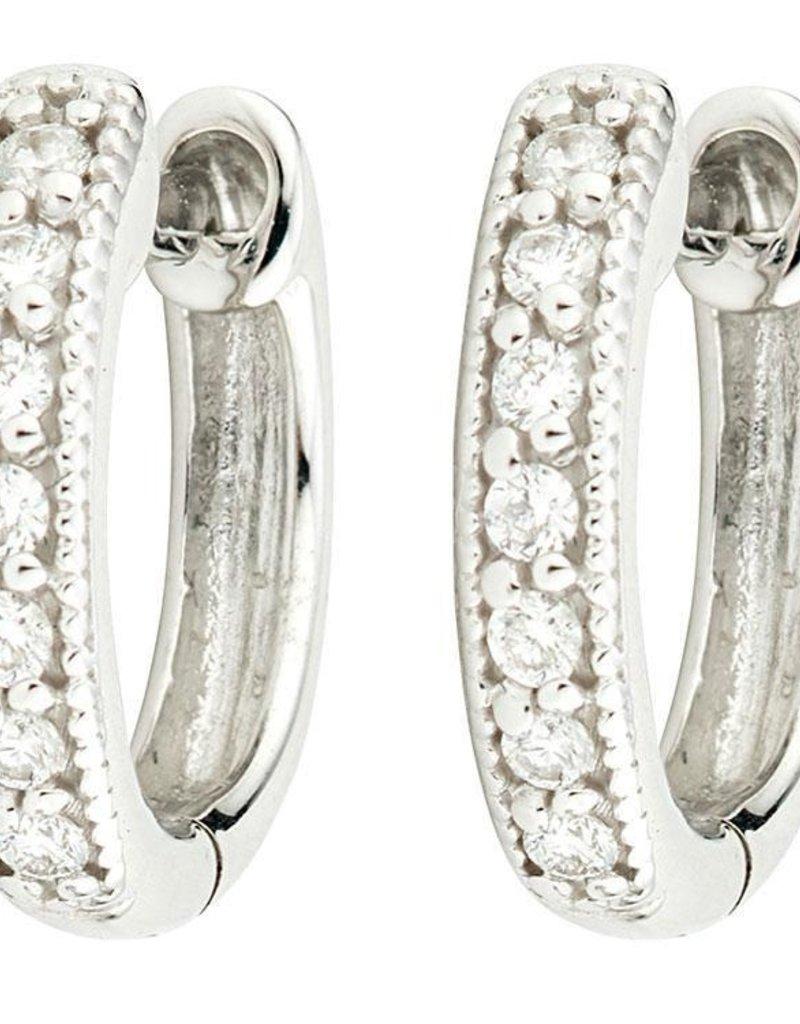 "Jude Frances Jude Frances 18K Wht Gold .5"" Hoop Earrings W/ 0.11ct Diamonds"