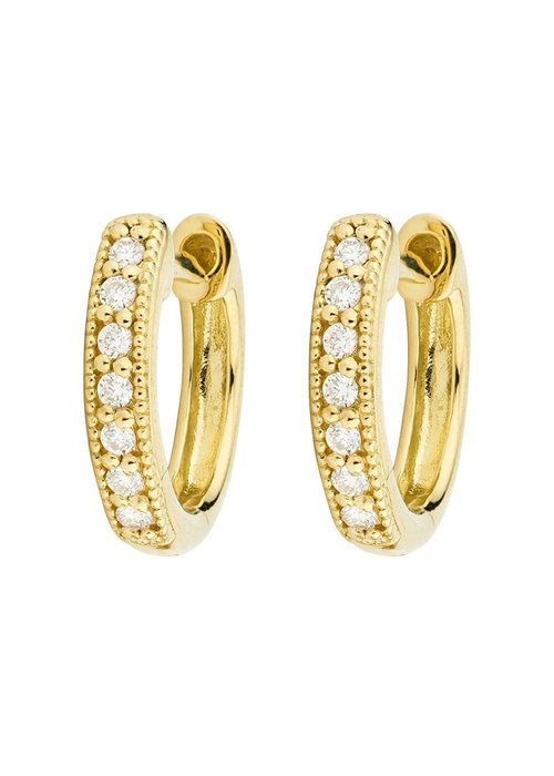 Jude Frances Diamond Huggie Hoop Earrings 18K Gold 14 Round Diamonds .11TCW