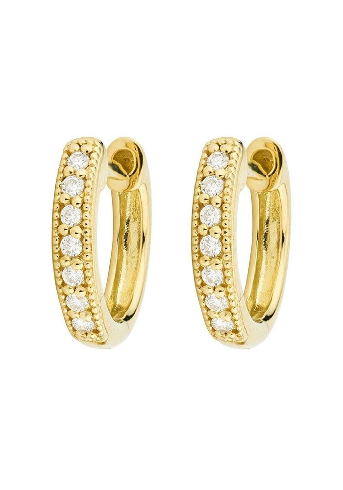 Diamond Huggie Hoop Earrings 18K Gold 14 Round Diamonds .11TCW