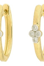 Jude Frances Jude Frances Provence Single Quad Oval Hoop Earrings 18K YG 8 gsi Diamonds 0.06tcw white
